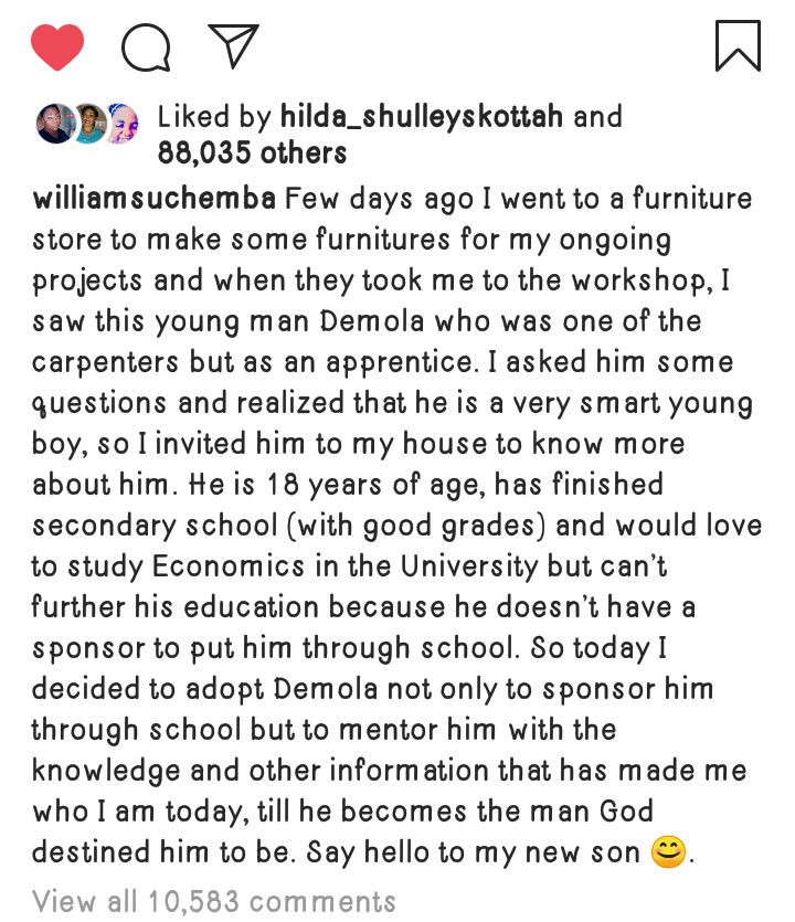 William Uchemba Adopts An 18 Years Old Brilliant But Needy Son 1 - Globecalls.com is a 24/7 Entertainment News Outlet In West Africa Serving Its Readers With The Best In Music, News, Events, And World Happenings.