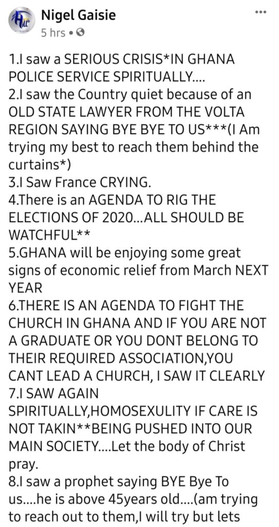 Nigel Gaisie prophesied election rigging