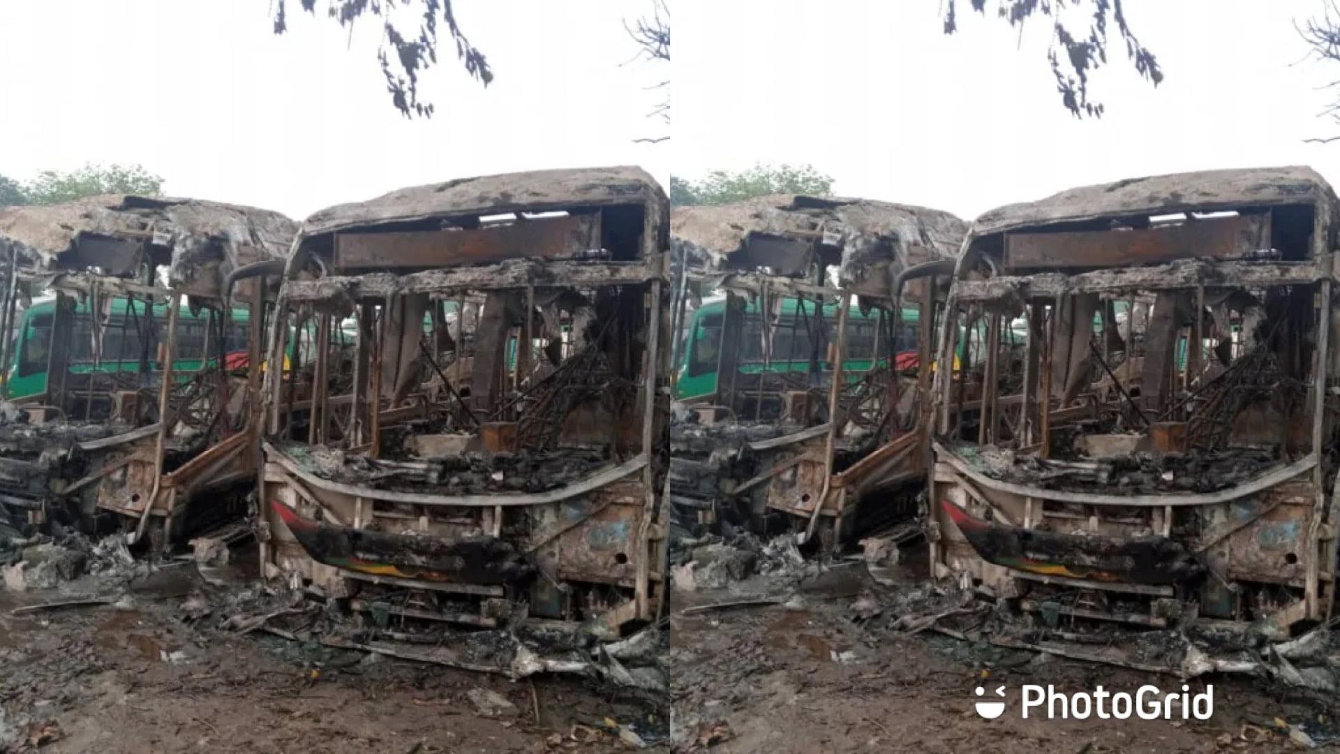 Arson? 4 Ayalolo Buses Burnt To Ashes At Kumasi