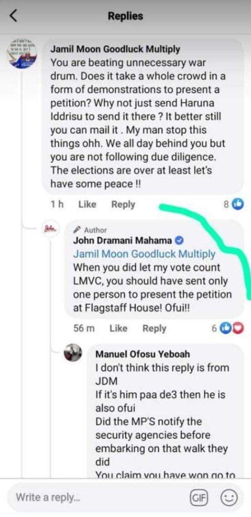 Ofui' - John Mahama Replies A Facebook User.