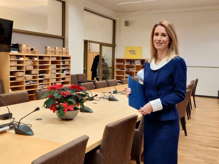 Kaja Kallas at the Reform Party's meeting room in the Estonian parliament, Riigikogu, on 25 January 2021.