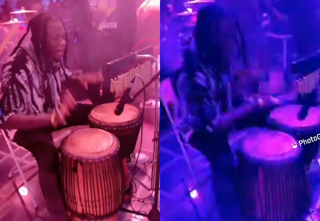 A Drummer Too! Stonebwoy Shows His Skills
