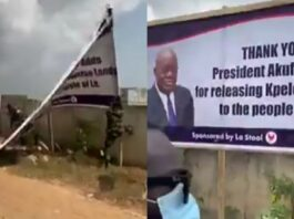 Soldiers Destroy Akufo Addo's Billboard After Giving Out Acres Of Land.