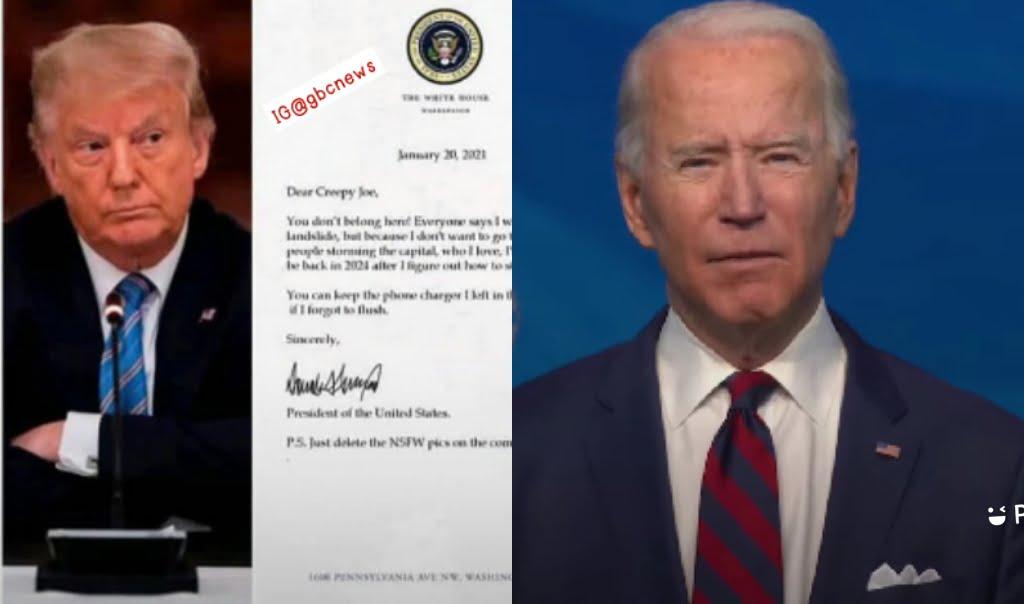 Outgone Donald Trump's White House Note To Joe Biden
