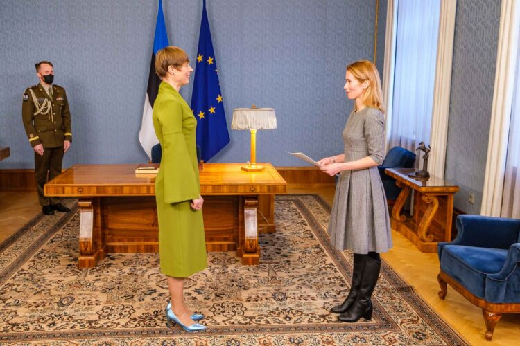 Kaja Kallas (right) was nominated to form the government by the Estonian president, Kersti Kaljulaid (left), on 14 January