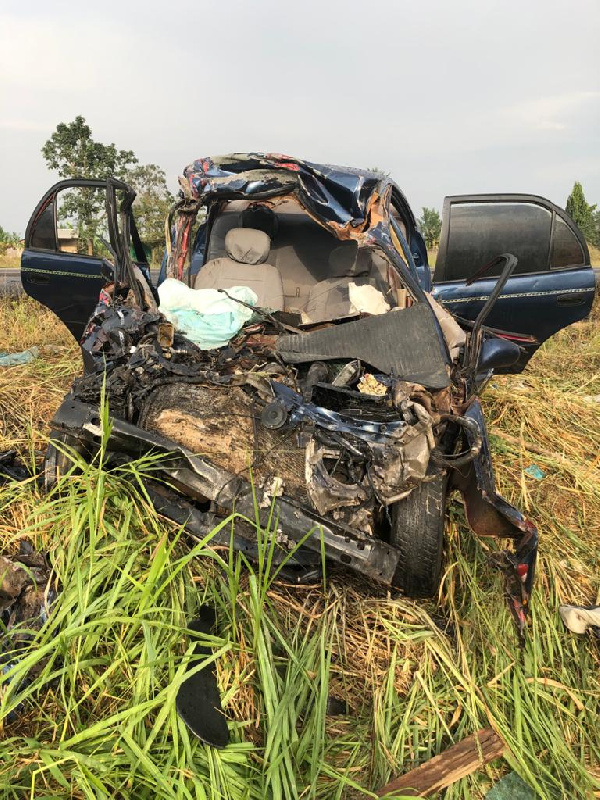 Drivers Dies In A Disfigured Car After A Fatal Accident