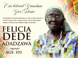 The African Pioneer Of Children And Women's Right Movement Felicia Dede Adadzawa Of Ho Dome Ghana Goes Home At The Age Of 103