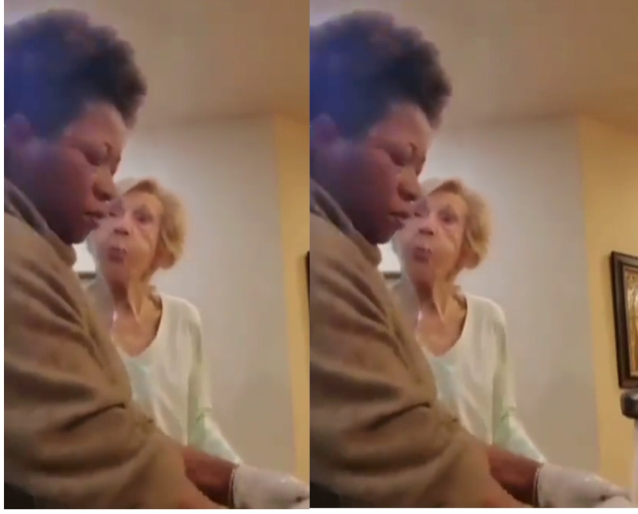 Sick White Old Lady Spits On Her Ghanaian Caretaker