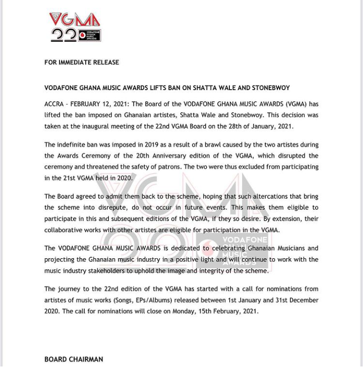 VGMA Board Lifts Shatta Wale And Stonebwoy Ban 1 - Globecalls.com is a 24/7 Entertainment News Outlet In West Africa Serving Its Readers With The Best In Music, News, Events, And World Happenings.