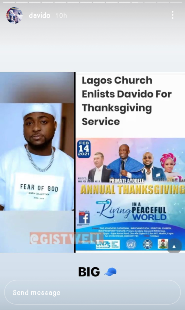 Davido Joins The Choir Enlisted To Perform At A Thanksgiving Service
