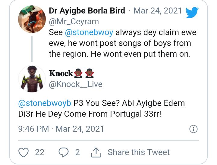 Stonebwoy Never Support Ewe Talents - Critics Attack