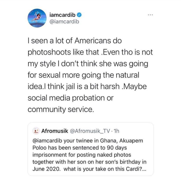 American Cardi B Reacts To Akuapem Poloo's Conviction.