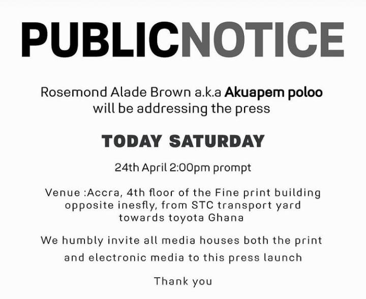 Fellow Ghanaians, Akuapem Poloo Addresses The Nation