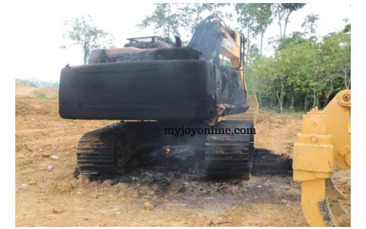 NPP Bigwig Kate Gyamfua's Galamsey Excavators Burnt