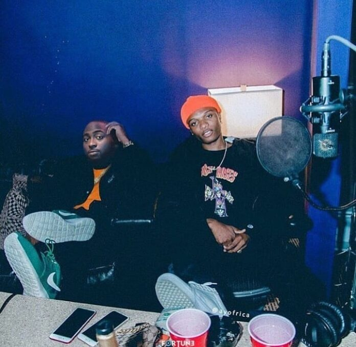 Davido And Wizkid Spotted Recording Together