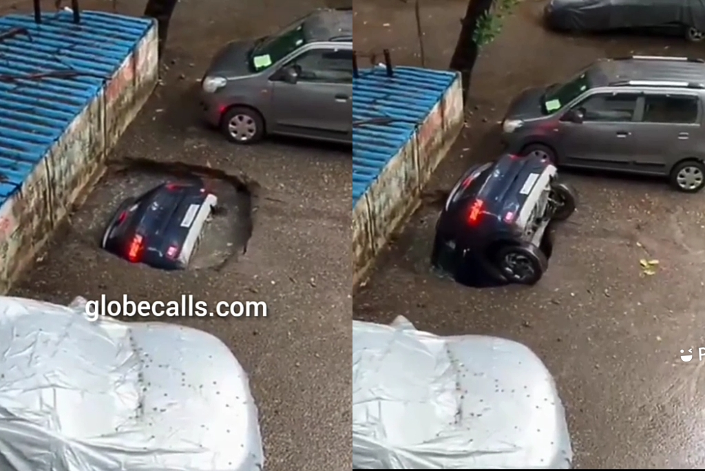 Sinking Sand: Car Disappears In A Land Subsidence