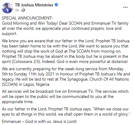 T.B Joshua To Be Buried In His SCOAN Chapel