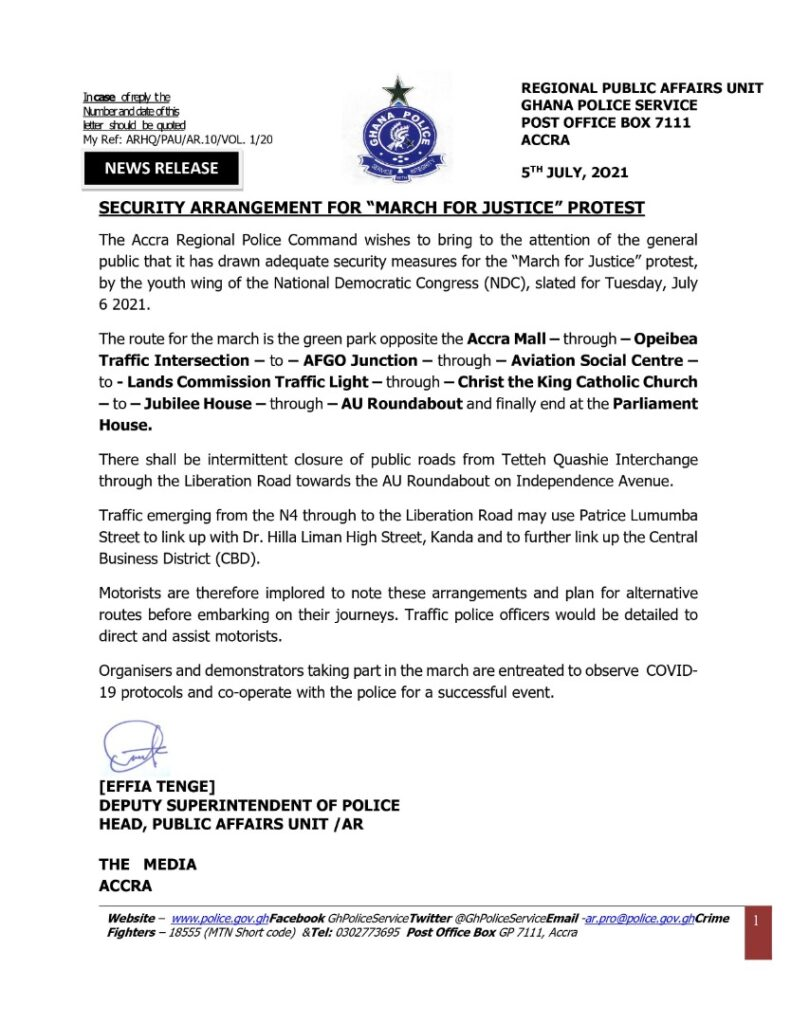 US Warns Citisens Of NDC's March For Justice Protest