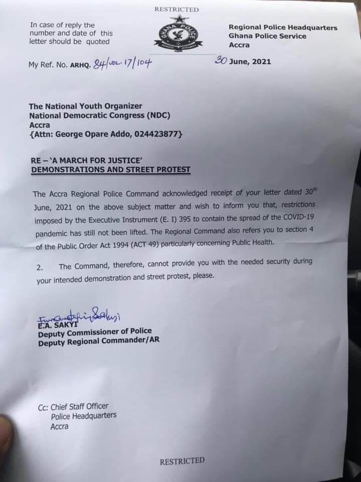 NDC Insists On Demo Despite Police Caution