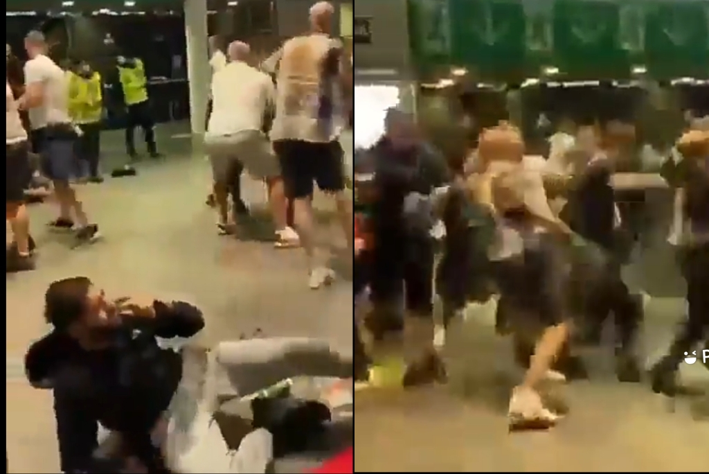 Serious Wrestling At Wembley Between Fans After England Lost