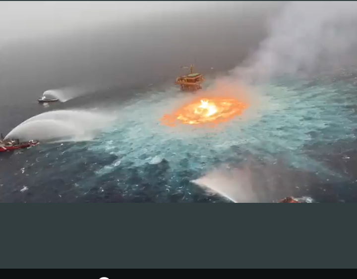 Eye Of Fire, Gas Leak Sparks Huge Spectacular Fire On Gulf Of Mexico
