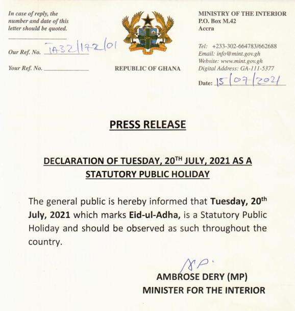 July 20th Declared Public Holiday To Celebrate Eid-ul-Adha